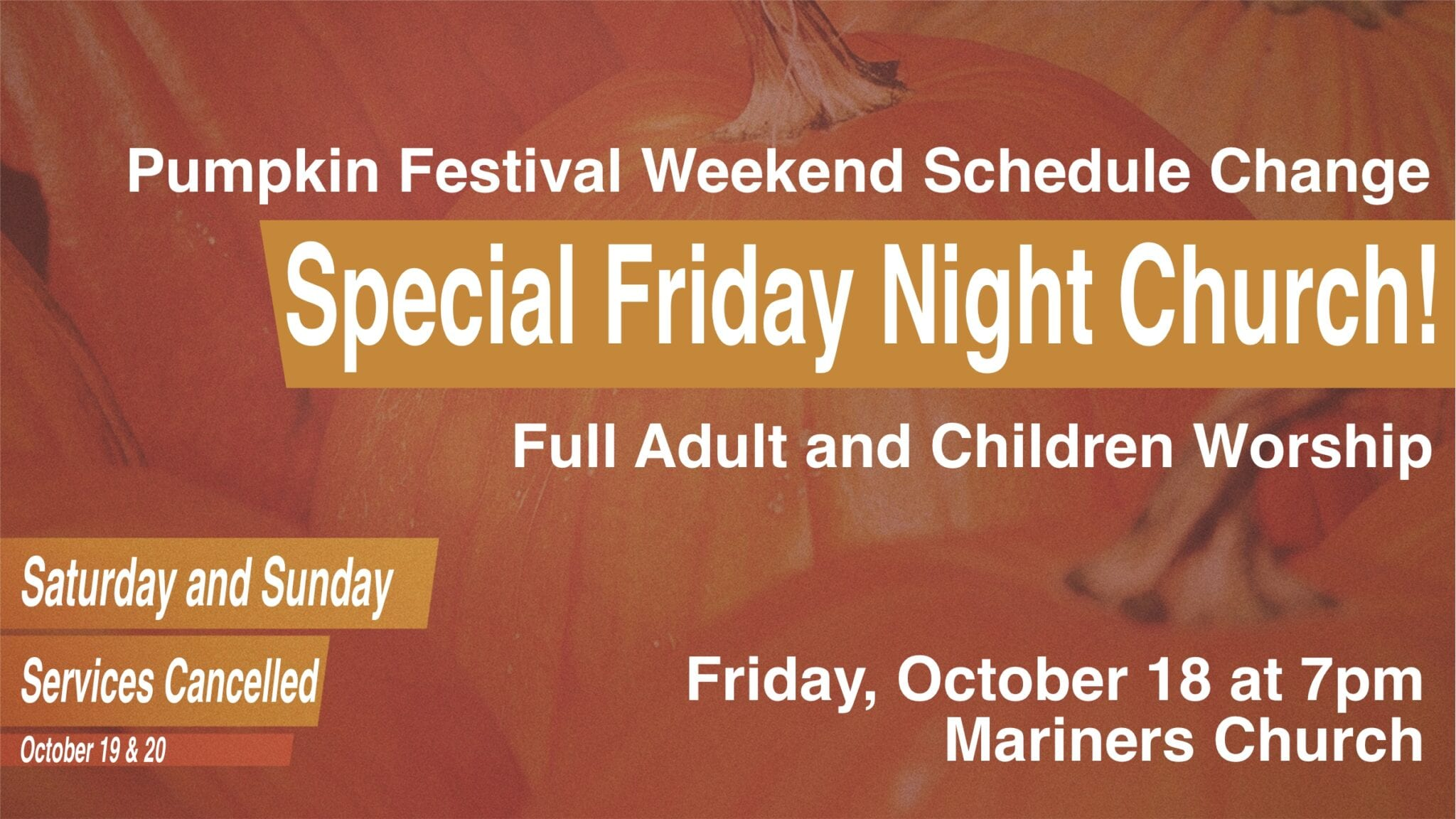Pumpkin Festival Weekend Service Change