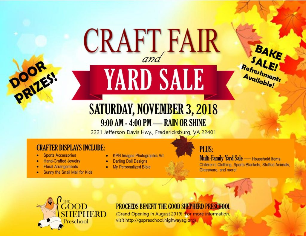 Craft Fair & Yard Sale Set for November 3rd | Highway